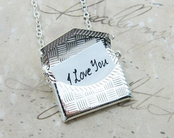 Silver Envelope Locket Necklace - Write your own note, I love you, etc. (T6)