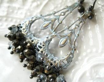 """Gemstone Chandelier Earrings-Art Nouveau Style Earrings-""""Paris Flea Market"""""""
