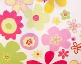 """Pink Funky Flowers fabric   Pink Lavender Yellow   P Kaufmann 54"""" width Cotton Twill"""