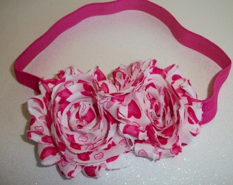 Heart Printed Shabby Chic Frayed Flowers on Elastic Headband, Toddlers Hair Bows, Girls Hair Bows, Valentines Day, Pink Hearts, Headbands