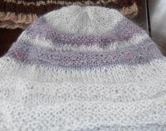 White mohair hat with lavendar stripes