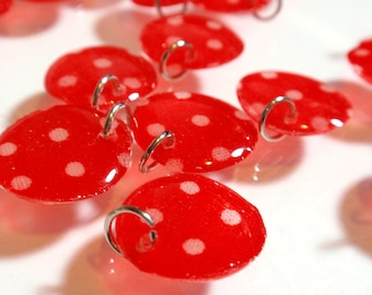 Red White Polka Dot Handmade Acrylic Lentil Charms Large Lentil Charms Geometric Dangles Charms Pendants A3