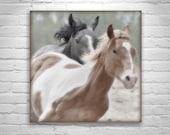 Horses Print, Horse Photography, Horse Art, Equestrian PIcture, Western Horses, Wild Horse Art, Ranch Art, Equine Art, Square Art Print