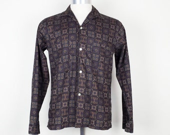 Wesley Navy Blue Square Pattern Shirt Mens 14 14.5 XS  1960s