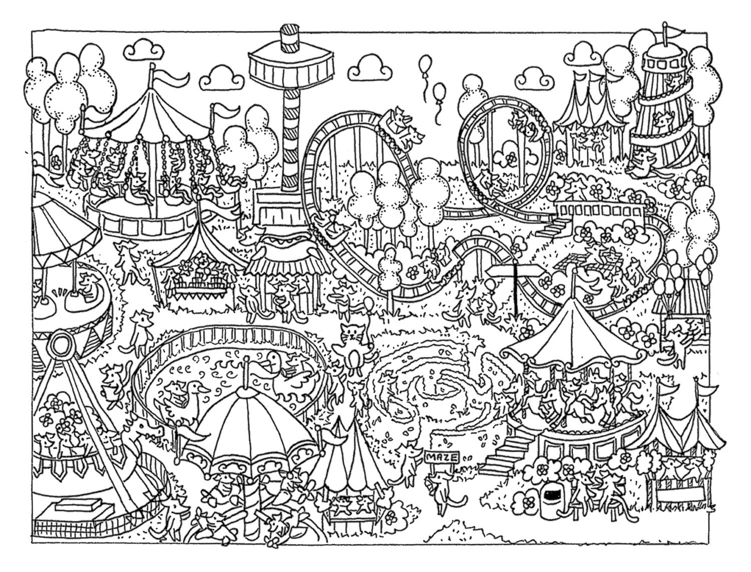 fun fair coloring pages - photo#11