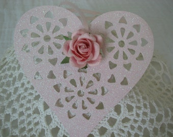 Heart Hand Painted Pink Ornament Pink Roses Glitter Wood Heart Decoration