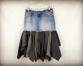 Med. Blue Denim Plaid Boho Skirt// Upcycled Bohemian// emmevielle