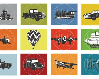 Transportation art for boys, set of 3, 13 x 19 art prints - you choose the colors and vehicles