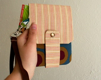 Tan and Pink Stripes - Phone Wallet with Card Slots and Zipper- Leather Wrist Strap
