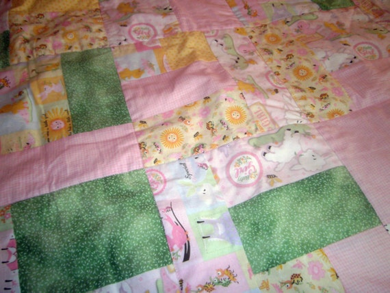 "Baby Girl Quilt, Handmade Crib Size, Baby Animals, Cotton, Flannel, Pink,Purple, 43.5"" x 35"