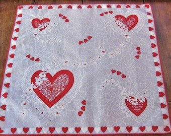 Valentine Vintage Hankie Hearts and Lace