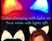 Glowing Multicolor Cat Ears, Clip On Halloween Costume Blacklight Rave Wear Outfit Accessory. Rainbow Light Up Nekomimi Kitty Cosplay