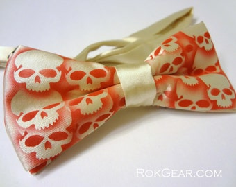 Skull bow tie, Mens adjustable collar band bow tie, Custom colors available, Original RokGear print, Cream Red tie, Made to order, RokGear