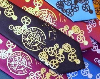 Clock works steampunk custom color mens necktie by RokGear