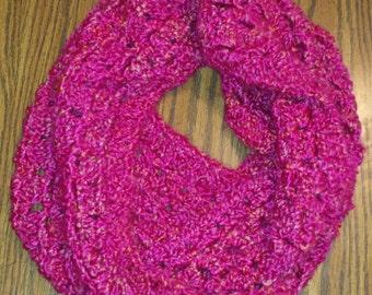 Soft, Cozy Dark Pink Infinity Scarf