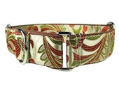 Dog Collar for Greyhounds - Dog Martingale Collar - Fancy Dog Collar - Green Dog Collar - Brown Dog Collar - Designer Dog Collar