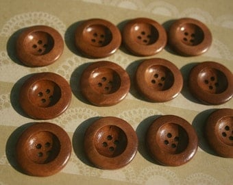 "Big Wood Buttons - Large Wooden Sewing Button - Bowl Style Rim - 1 1/8"" - 12 Buttons"
