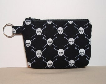 Black Knit Skulls and Crossbones - Coin Pouch with Keyring