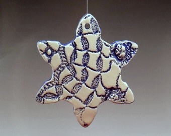 Snowflake Star of David Blue Doily Pattern Ornament