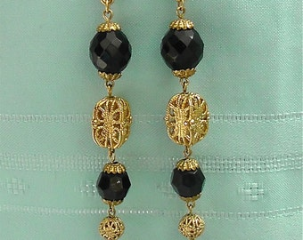 Vintage Long Gold and Black Earrings