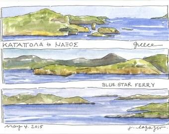 to Naxos ~ original watercolor