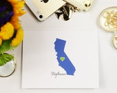 15 Personalized Stationery ANY State with Return Address on Envelopes // Great Gift Idea