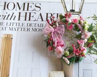 Pink Floral Wreath Flowers Chiffon Bow 1:12 Dollhouse Miniature Artisan