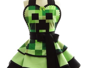Retro Apron -  Green Creeper Womans Aprons - Vintage Apron Style - Gaming Pin up Rockabilly Cosplay