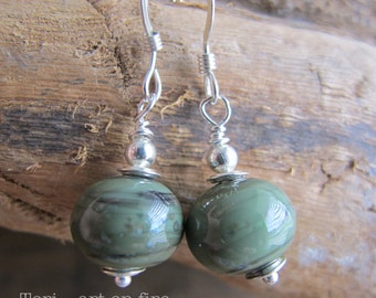 Green Lampwork Bead Earrings