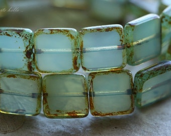 WONDROUS SQUARES .. 10 Premium Picasso Czech Glass Square Beads 10mm (4449-10)