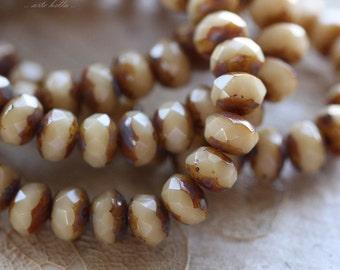 CUSTARD BABIES .. 30 Premium Picasso Czech Rondelle Glass Beads 3x5mm (4491-st)