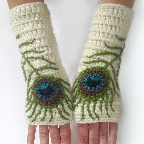 Fingerless Gloves Boho Peacock Feather Wool Armwarmers Wool Fingerless Gloves Womens Arm warmers Cream Teal Texting Gloves - MADE TO ORDER