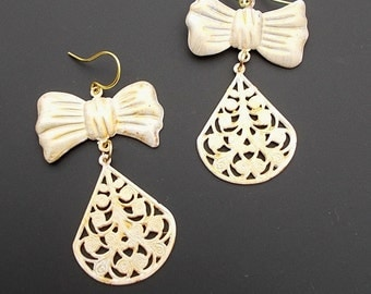 Bow Earrings, Ribbon Earrings, Statement Earrings, White Earrings, Bold Earrings, Dangle Earrings, Big Earrings, Retro Earrings,