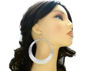 """Massive Dark Silvertone Hammered Hoop Earrings 3.5"""" Diameter"""
