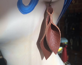 Petal Collection:  Brown Leather Petal Earrings