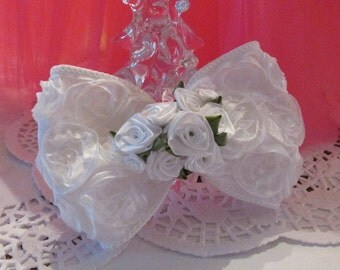 FIRST HOLY COMMUNION- White Rosette Ribbon Hair Clip Bow