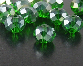 CLEARANCE Glass Bead 12 Green AB Rondelle Faceted 10mm x 7mm (1014gla10g1)os