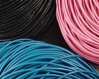 Leather Cord By the Yard CHOICE Black Blue or Pink Cowhide 2mm thick (1011cor02m1)
