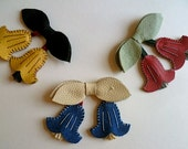 Royal Blue, Cream and Red Leather Hand Stitched Suede Canterbury Bells Brooch