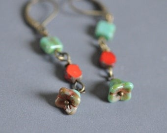 Turquoise and Red drop dangle earrings bronze latch earwires