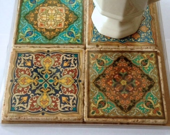 Travertine Tile Coaster Set  Moroccan Motif