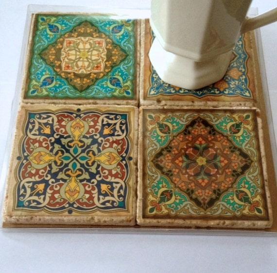 Articles Similaires Travertin Tuile Coaster Set Motif Marocain Sur Etsy