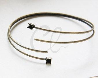 2pcs Antique Brass Plated Brass Base Cuff Bracelets - Bangle 60x1.5mm (2034C-F-564)
