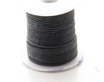 25 Meters of Round Wax Cotton Cord - Black 1mm (501)