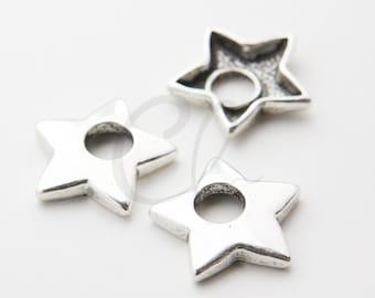 10pcs Oxidized Silver Tone Base Metal Pendants - Star 25.5x25.6mm (16546Y-E-581)