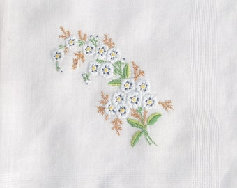 1950's Vintage Hankie with Embroidered Blue Flowers