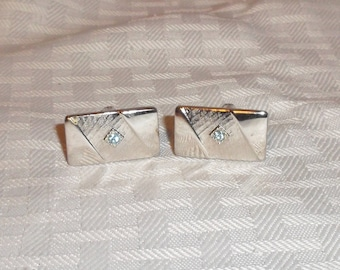 Clearance 1950s Vintage Silver Tone Cuff Links with Aqua Stones