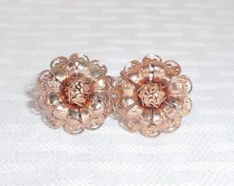 1950s Vintage Reddish Gold Abstract Flower Earrings Screw Back Style