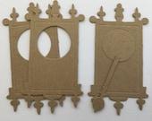 Wall Clock - Chipboard Die Cuts - Ornate Grandfathers Clock - Bare Vintage Steam Punk Embellishments