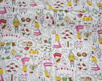 "Alice in Wonderland Fabric Half meter 50  cm x 108 cm or 19.6"" by 42"" nc44(n132)  nc54"
